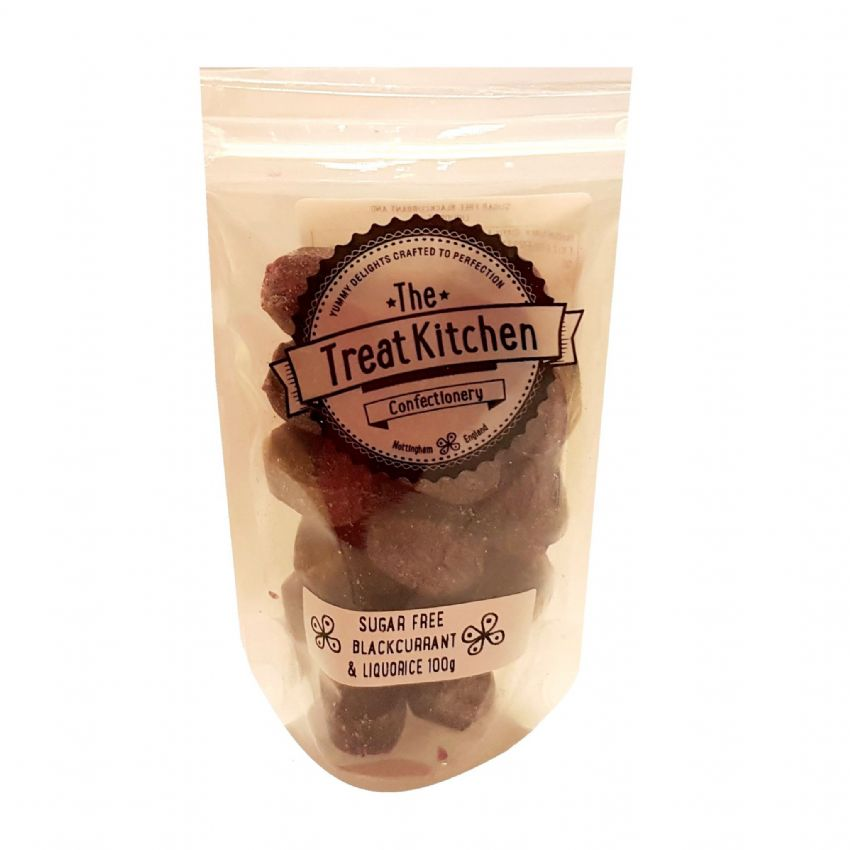 Blackcurrant & Liquorice Sugar Free Hard Boiled Sweets Pouch - The Treat Kitchen Confectionery 100g
